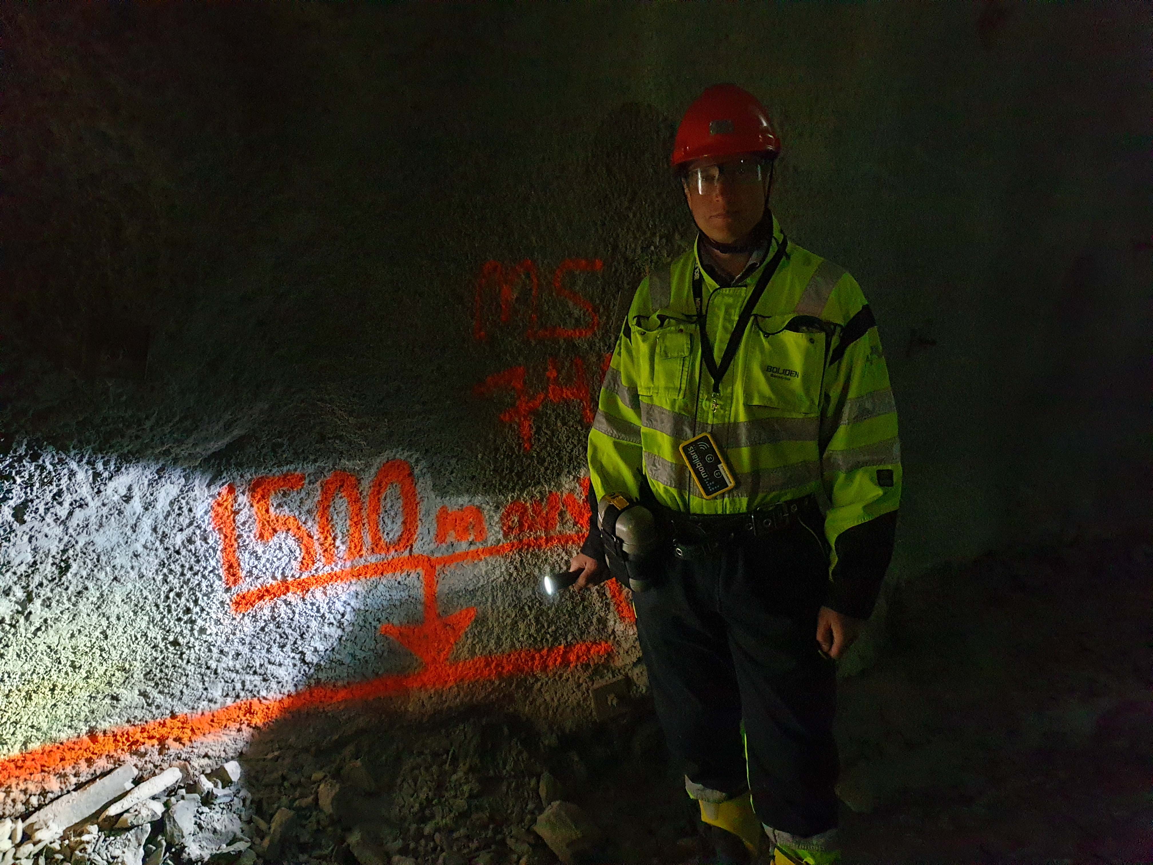 Peter Wallin på 1500 m djup i Renströmsgruvan