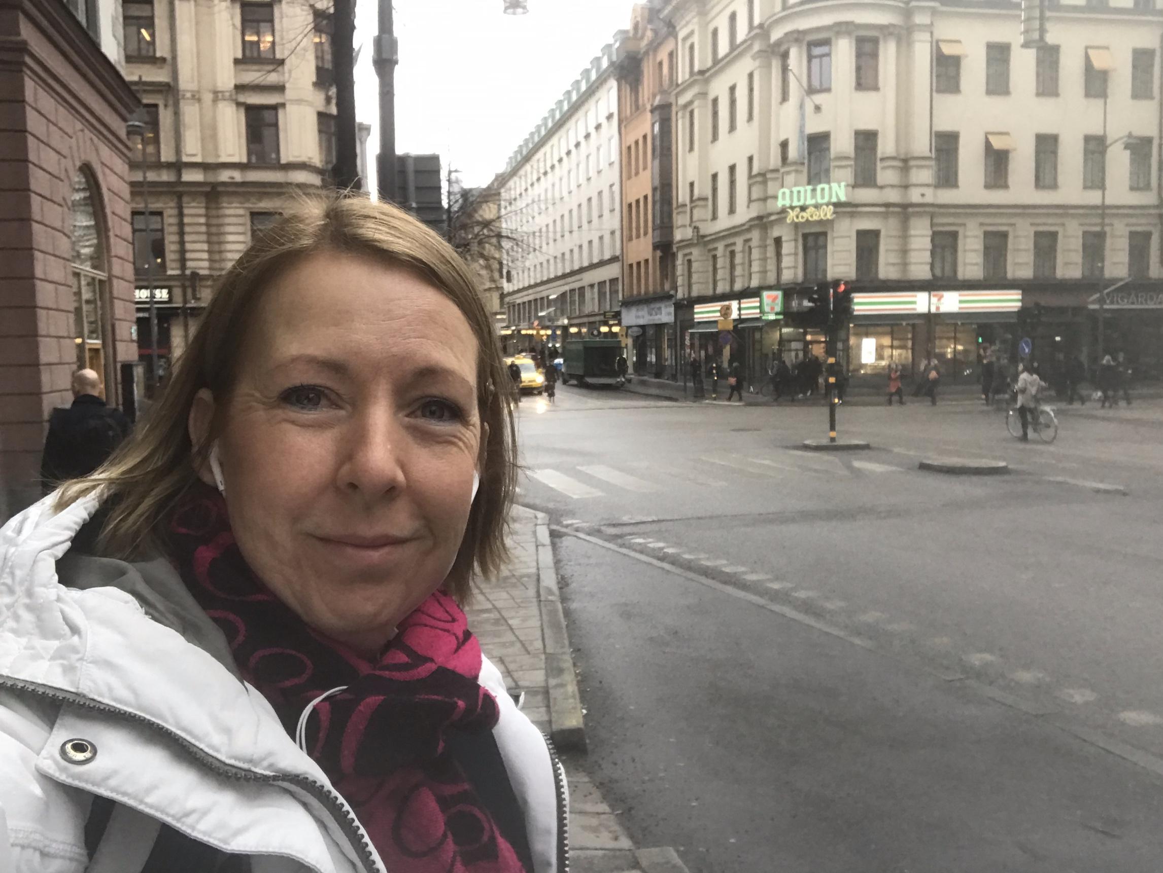 Foto av Malin Rosqvist på Vasagatan i Stockholm