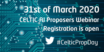 Bild med text: 31st of March 2020. Celtic AI Proposers Webinar, registration is open