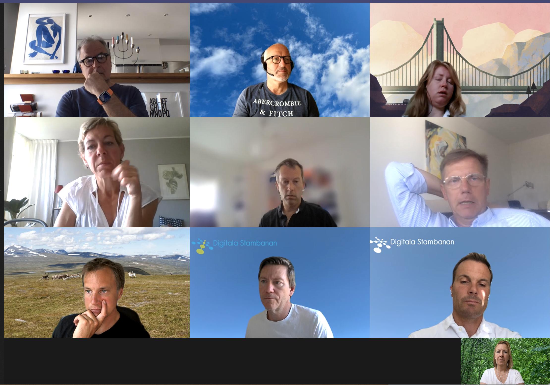 Skärmavbild på tio deltagare under digitalt möte