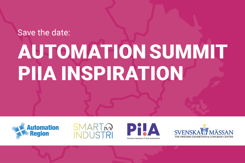 Informationsskylt med texten: Save the date - Automation Summit PiiA Inspiration
