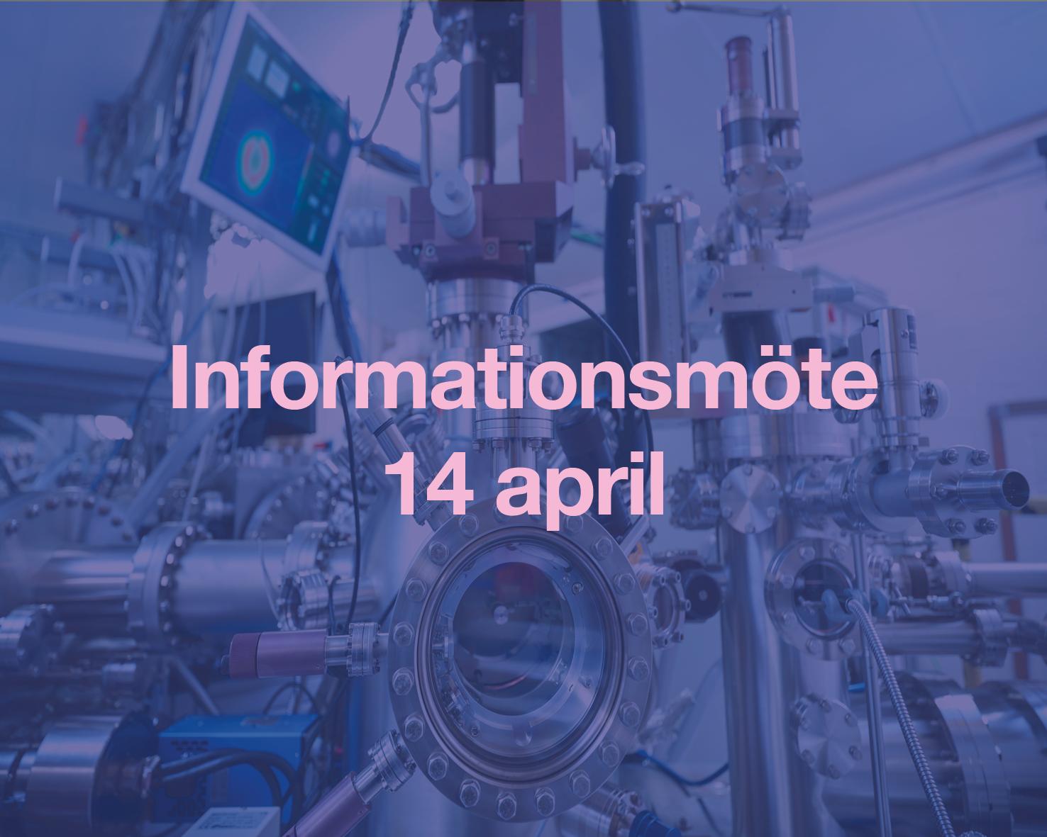 Mörklagd bild på labbutrustning med text: Informationsmöte 14 april