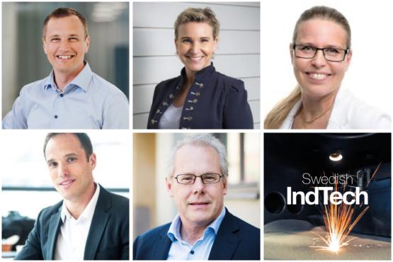 Bildmontage, rutnät med 6 bilder bestående av 5 personer och en ruta med texten Swedish IndTech